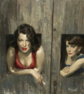 Paintings, LU KIMMEL (American 1908 - 1973). Hell Strip, paperback cover, 1955. Gouache on board. 24 x 21.5 in.. Signed lower right... (Total: 2 Items)