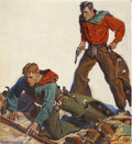 Pulp, Pulp-like, Digests, and Paperback Art, HAROLD WINFIELD SCOTT (American 1898 - 1977). Western Pulpcover. Oil on canvas. 22 x 20 in.. Signed lower right. ...