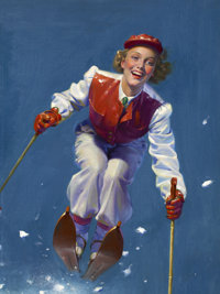 ROBERT C. KAUFFMANN (American b. 1893) Art Deco Era Woman Skier, magazine cover, circa 1933-1938 Oil
