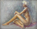 Pin-up and Glamour Art, ZOE MOZERT (American 1904 - 1993). Nude, circa 1940. Pastelon paper. 22 x 27.5 in.. Signed lower right. ...