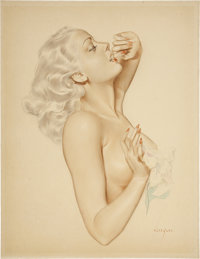 ALBERTO VARGAS (American 1896 - 1982) Girl with a Flower Watercolor and pencil on board 18 x 13.7
