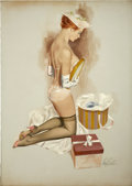 Pin-up and Glamour Art, FRITZ WILLIS (American d.1979). Woman Opening Hat, pin upillustration. Oil on canvas. 34 x 24 in.. Signed lower right....