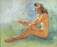 ZOE MOZERT (American 1904 - 1993) A Nude with Daisies in Her Hair Pastel on board 20 x 24 in