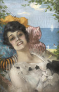 Pin-up and Glamour Art, ROLF ARMSTRONG (American 1889 - 1960). Art Deco Girl in aHammock. Pastel on board. 28.5 x 18.5 in.. Signed lowerright...