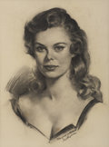 Pin-up and Glamour Art, GIL ELVGREN (American 1914 - 1980). Marjorie. Charcoal onpaper. 21 x 16 in.. Signed lower right. ...