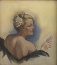 ZOE MOZERT (American 1904 - 1993) A Blonde with a Flower in Her Hair, circa 1940 Pastel on board
