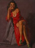 Pin-up and Glamour Art, EARL MORAN (American 1893 - 1984). Seated Brunette in a RedRobe. Oil on board. 26 x 19 in.. Signed lower left. ...