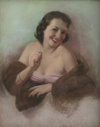 ZOE MOZERT (American 1904 - 1993) Brunette in a Fur Wrap Pastel on Board 28 x 22 in. Signed lo