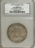 Early Half Dollars, 1807 50C Draped Bust--Improperly Cleaned--NCS. AU Details....