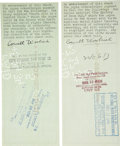 """Autographs:Authors, Cornell Woolrich Checks Signed for payment for two short stories. Two checks, each 8.5"""" x 3.5"""".... (Total: 2 Items)"""