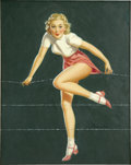 Pin-up and Glamour Art, AL BUELL (American 1910 - 1996). Curious Blonde. Oil onboard. 20 x 16 in.. Signed lower right. ...
