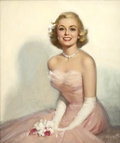Pin-up and Glamour Art, WALT OTTO (American 1895 - 1963). Blonde in Pink Formal,calendar illustration. Oil on canvas. 24 x 20 in.. Signedlower...