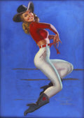 Pin-up and Glamour Art, EARL MACPHERSON (American 1910 - 1993). Cowgirl, circa 1950.Pastel on board. 40 x 30 in.. Signed lower right. ...
