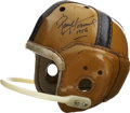 Football Collectibles:Uniforms, 1950's Notre Dame Game Worn Helmet Signed by Paul Hornung....