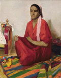 Fine Art - Painting, Russian, S. KORINOV (Russian, 20th Century). Portrait of a UzbekWoman, 1964. Oil on canvas. 46 x 35 inches (116.8 x 88.9 cm).Si...