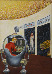 ED EMSHWILLER (American 1925 - 1990) Arena of Decisions, Amazing cover, March 1964 Gou