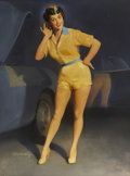 """Pin-up and Glamour Art, WILLIAM MEDCALF (American 20th Century). Victor """"Vicki"""" Girl,advertising illustration, circa 1950. Oil on board. 40 x 3..."""