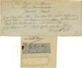 Autographs:Non-American, [Charles Edward Stuart] Lock of Hair. Lightly stitched into afolded piece of paper is a small lock of reddish hair. The fol...