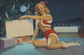 Pin-up and Glamour Art, WILLIAM MEDCALF (American 20th Century). Christmas, circa1950. Oil on board. 21 x 31 in.. Signed lower right. ...