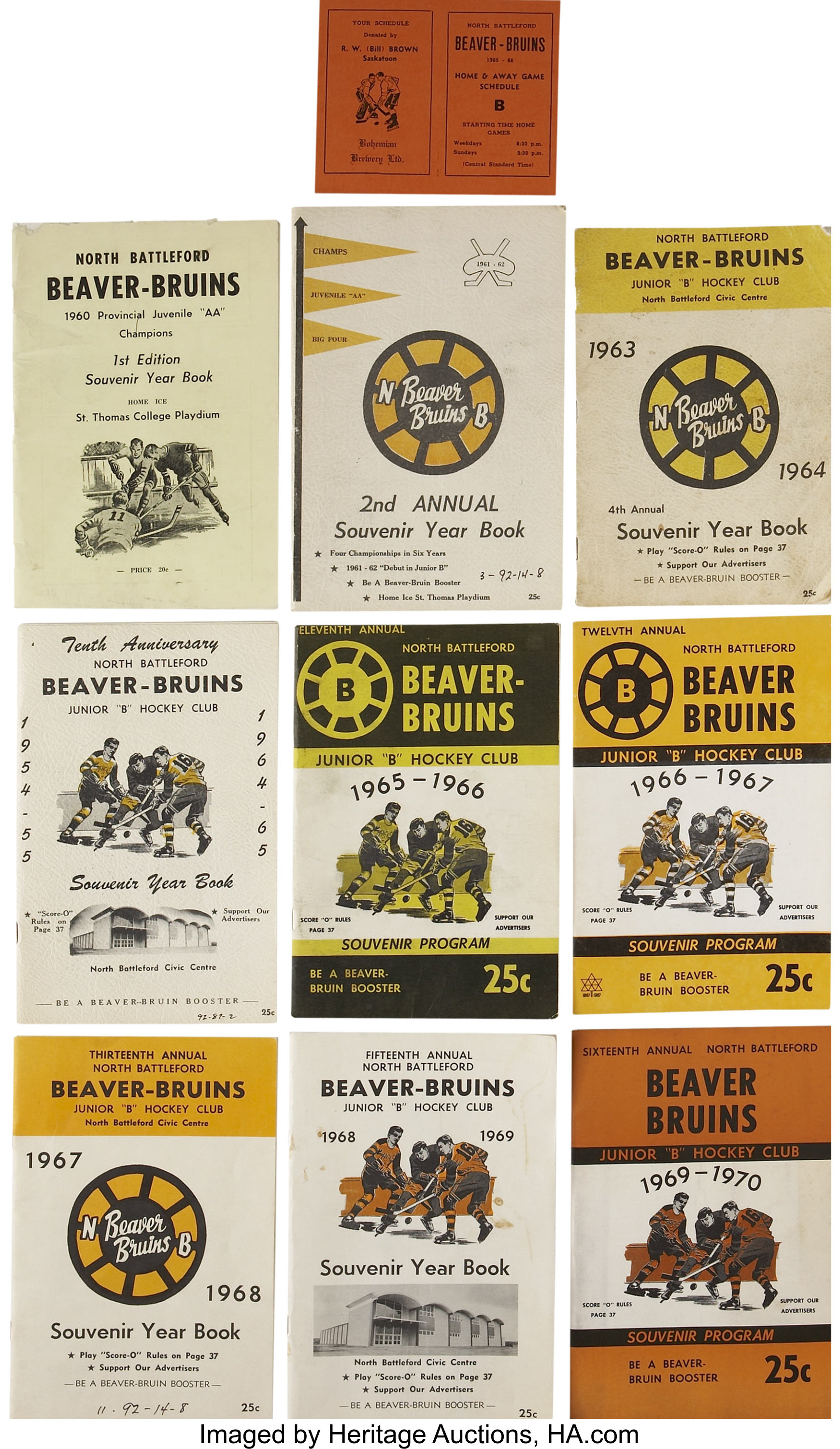 1960-70 North Battleford Beaver Bruins Official Yearbooks