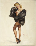 Pin-up and Glamour Art, GIL ELVGREN (American 1914 - 1980). This Is the Skin I Love toTouch, 1947. Oil on canvas. 30 x 24 in.. Signed lower rig...