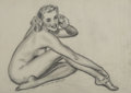 Pin-up and Glamour Art, MECLELLAND BARCLAY (American 1889 - 1943). Nude, circa 1940.Graphite on paper. 10.5 x 14.75 in.. Signed lower left. ...
