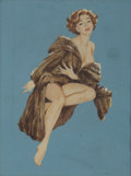 Pin-up and Glamour Art, BEN-HUR BAZ (American b.1906). Nude with Mink. Gouache onboard. 10.5 x 8 in.. Not signed. ...