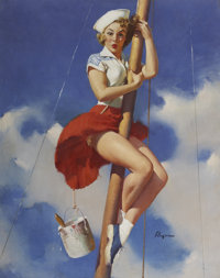 GIL ELVGREN (American 1914 - 1980) Sitting Pretty, 1953 Oil on canvas 30 x 24 in. Signed lower