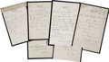 Autographs:Inventors, Joseph Lister Lot of Four Autograph Letters Signed and One ClippedSignature.... (Total: 5 Items)