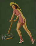 Pin-up and Glamour Art, AL BUELL (American 1910 - 1996). Brunette Mowing Grass. Oilon board. 20 x 16 in.. Signed lower right. ...