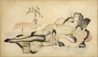 ALBERTO VARGAS (American 1896 - 1982) Reclining Woman, 1915 Graphite and colored pencil on paper