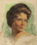 Pin-up and Glamour Art, ZOE MOZERT (American 1904 - 1993). Brunette. Pastel onpaper. 15 x 12.5 in.. Signed lower right. ...