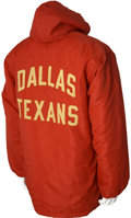 Football Collectibles:Uniforms, Early 1960's Dallas Texans Game Worn Sidelines Jacket....