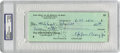 Autographs:Others, Eppa Rixey Signed Check. ...