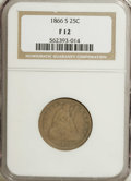 Seated Quarters: , 1866-S 25C Fine 12 NGC. Though this postwar San Francisco exampledisplays significant wear, the overall eye appeal is high...
