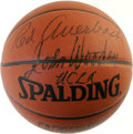 Basketball Collectibles:Balls, Red Auerbach and John Wooden Dual-Signed Basketball. Perhaps thetwo coaches most revered in the game of basketball, each h...