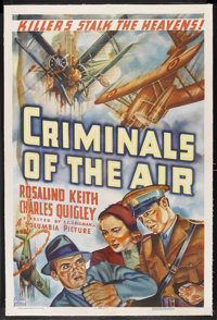 "Criminals of the Air (Columbia, 1937). One Sheet (27"" X 41""). Action. Starring Rosalind Keith, Charles Quigley..."