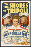 "Movie Posters:War, To the Shores of Tripoli (20th Century Fox, 1942). One Sheet (27"" X41""). War. Starring John Payne, Maureen O'Hara, Randolph..."