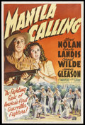"Movie Posters:War, Manila Calling (United Artists, 1942). One Sheet (27"" X 41""). War.Starring Lloyd Nolan, Carole Landis, Cornel Wilde, James ..."