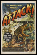 "Movie Posters:Documentary, Attack! The Battle for New Britain (RKO, 1944). One Sheet (27"" X 41"") Style A. Documentary. Narrated by Leo Genn, Burgess Me..."