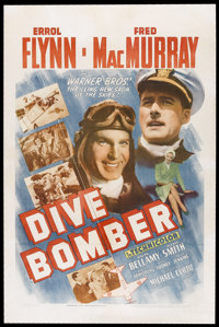 "Dive Bomber (Warner Brothers, 1941). One Sheet (27"" X 41""). Action. Starring Errol Flynn, Fred MacMurray, Ralp..."