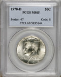 Kennedy Half Dollars: , 1970-D 50C MS65 PCGS. PCGS Population (785/189). NGC Census:(285/76). Mintage: 2,150,000. Numismedia Wsl. Price for NGC/PC...
