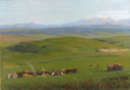 Fine Art - Painting, Russian:Contemporary (1950 to present), RUSSIAN SCHOOL (20th Century). Landscape with Peasants, 1952. Oil on canvas. 36 x 51 inches (91.4 x 129.5 cm). Signed lo...