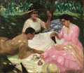 Fine Art - Painting, Russian:Modern (1900-1949), SERGEY VINOGRADOV (Russian, 1869-1938). The Picnic, 1912. Oil on canvas. 39-1/2 x 45-1/2 inches (100.3 x 115.6 cm). Sign...