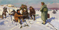 Fine Art - Painting, Russian:Contemporary (1950 to present), GENNADY MATVEYEV (Russian, 1920-1990). Fishing by the IstraLake, 1958. Oil on canvas. 20-1/4 x 39-3/4 inches (51.4 x 10...