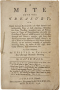 Autographs:Statesmen, [Benjamin Franklin Imprint] David Hall, A Mite into theTreasury....