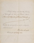 "Autographs:U.S. Presidents, Abraham Lincoln Partly Printed Document Signed as President, one page, 9.5"" x 7.75"", Washington, July 27, 1864. ..."