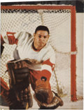 Hockey Collectibles:Others, 1960s Terry Sawchuk Signed Magazine Page....