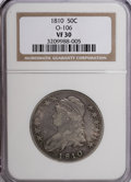 Bust Half Dollars: , 1810 50C VF30 NGC. O-106. NGC Census: (18/376). PCGS Population(22/348). Mintage: 1,276,276. Numismedia Wsl. Price for NG...