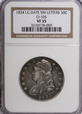 Bust Half Dollars: , 1834 50C Large Date, Small Letters VF35 NGC. O-105. PCGS Population(10/241). (#6165)...